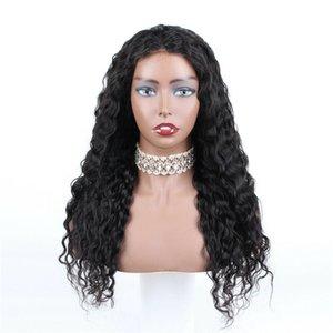 """Скидка Pre собственности Lace Фронтальная парики 22"""" глубокая волна человеческих волос Natural Color"""
