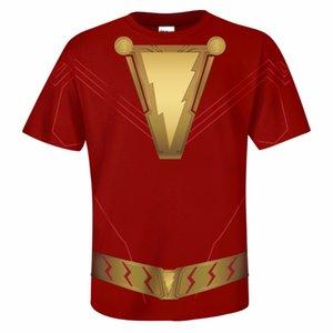 Camiseta de Shazam DC Cosplay Camiseta de Shazam Camiseta de manga corta Estampado con cuello o Camiseta superior de verano Camisa casual de hombre Adulto