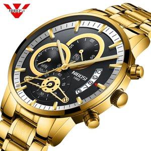 NIBOSI para hombre Relojes de oro encima del reloj de los hombres Relogio Masculino Fecha automática reloj de cuarzo reloj de pulsera luminosa Calendario