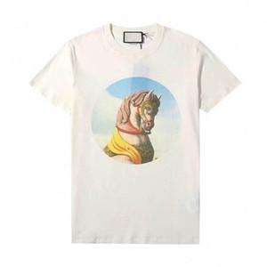 20ss fatta in Italia Cavallo sveglio del fumetto stampato Tee Uomini High Street modo delle donne maniche corte T-shirt Estate traspirante Tee HFYMTX774