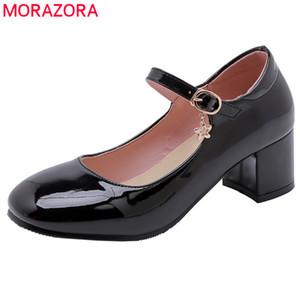 MORAZORA 2019 nova chegada Mary Jane Mulher sapatos de verão sapatos única rodada toe bombas mulheres partido fivela