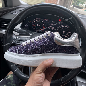 2019 Fashion Luxury Classic Casual Shoes Platform Leather Trainer Hombres Mujeres Navy Snake Skin 3M Sneakers Velvet Chaussures Glitter With Box