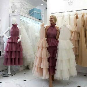 Vestido Novo Tiered Tulle Prom Dresses Branco Rosa Custom Made Tea Comprimento Mulheres elegantes formal do partido do vestido vestido de gala