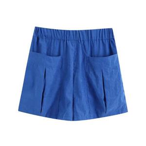 2020 summer women's new retro high waist casual stretch waist pockets wide version shorts