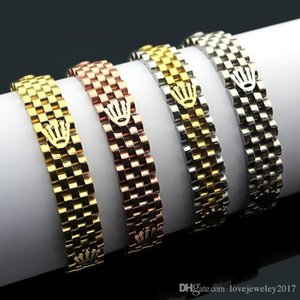Luxury Gold Crown watchband bracelet stainless steel Rose Gold Silver watch chain Adjustable strap bijoux for women and men Fine jewelry