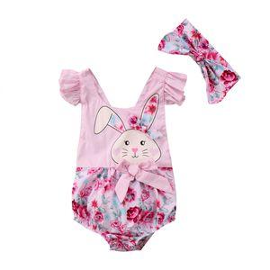 0 to 2Y Newborn Baby Girls Print Rabbit Patchwork lace Beachwear Jumpsuit Bodysuit Sportswear Infant +Venda Outfits Set