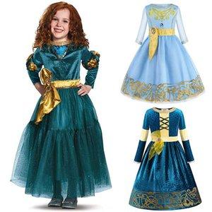 New Fancy Brave Merida Princess Dress Cosplay Warm Costume for Kids Girls Halloween Dress up Costume Merida Wig Party Supplies