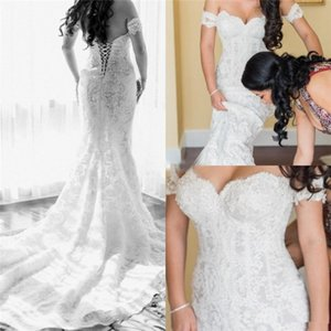 Mermaid Lace Wedding Dresses 2019 Sexy Off Shoulder Trumpet Church Corset Bridal Wedding Party Gown Custom Made