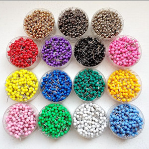 1  8 Inch Small Map Push Pins Map Tacks, Plastic Head with Steel Point, 100 pcs set, 14 colors for option