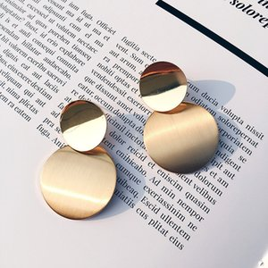 Disc Drop Earrings For Women Fashion Double Round Exaggerated Dangle Brincos Nice Party Gift Luxury Earrings