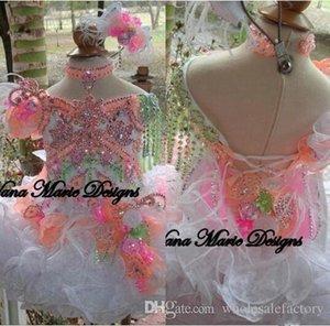 2020 핑크 귀여운 유아 라인 소녀 Glitz Pageant Dresses 구슬 크리스탈 꽃 깃털 Organza 꽃 소녀 드레스 먹고 드레스 Ba4804