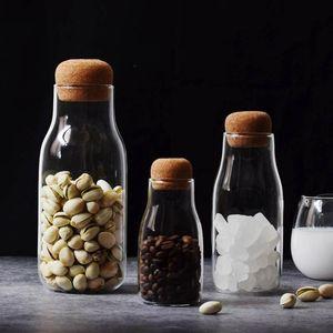 Kreative Transparente Glas Wasser-Saft-Milchflasche Klar Hitzebeständige Milch Saft Wasserglasflasche Mit Holz Stopper