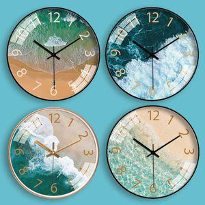 Personalidad del reloj de pared creativo de la sala Mar Inicio Mute reloj de moda nórdica Arte Moderno La simplicidad del reloj de pared de cristal de envío gratuito