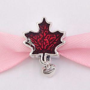 Authentische 925 Sterling Silber Perlen Love Canada Maple Leaf Emaille-Charme-Anhänger Passend Europäische Pandora Style Schmuck Armbänder Halskette 7972