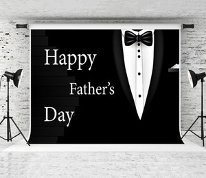 Rêve 7x5ft Bonne fête des pères Backdrop costume noir Tuxedo Noeud papillon Décor Photographie Fond pour Party papa célébration Backdrops Shoot