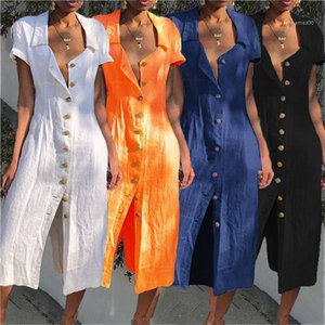 Хлопок Льняные платья Boho Кнопка Открыть Платья Женщины Твердые Короткие рукава убавьте Коллер длинное платье плюс размер летом
