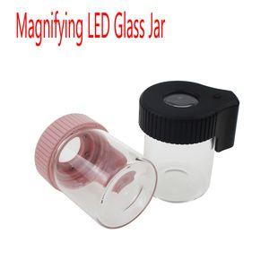 Colorfull 3,5 g Jar LED Lupa Luz vidro Stash Armazenamento 155 mL Jar para Lid seco Herb Flowers com plástico VS Smokus