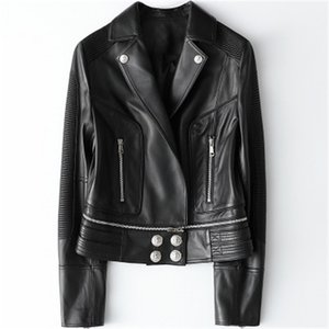 2020 Women Spring Genuine Real Sheep Leather Jacket H45