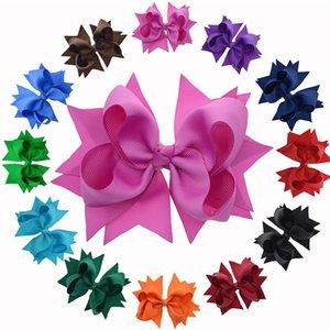 5 pouces grandes pinces à cheveux Boutique 12 vrac solide coloré Ruban Grosgrain Bow cheveux avec clips pour enfants Filles Accessoires cheveux
