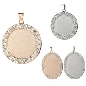 DIY 보석 액세서리 라운드 타원형 모조 다이아몬드 하단 브래킷 시간 보석 승화 빈 펜던트를 들어 핫 전송 인쇄 목걸이