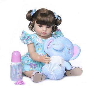 Yeni 55 cm 22inch NPK yeniden doğmuş bebek yürümeye başlayan kız çok yumuşak tam vücut silikon bebek banyo oyuncak