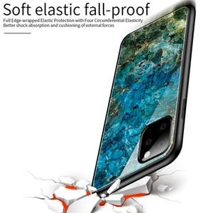 Casos de gradiente de mármore do telefone para o iPhone 11 Max XS XR X 8 7 6 6S XS vidro temperado híbrido rígido Capa