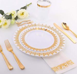 De oro de oro rosa de plástico Vajilla de cumpleaños juego desechable de plástico Placa de ensalada Placa Tenedor Vajilla mayorista Cuchara