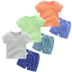 2020 Children Summer Short Sleeve Underwear Sets for baby boys and girls Baby Boy Clothes Sport Clothing T-shirt+shorts infants