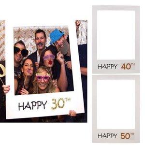 1/16/18/21/30/40/50/60 ° 2018 Telaio Photo Booth Props partito di buon compleanno Carta spettacolo Photobooth puntelli divertenti accessori per la casa