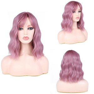 12inch Natural Black Lace Frontal Wig Long bob curly Wholesale Factory Price Heat Resistant Fibre synthetic hair wig
