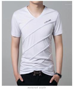 T-shirts Les hommes modaux Street Style adolescents Vêtements Penelled stipité été T-shirts pour hommes Designer V Lettre Neck Imprimer Slim