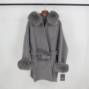 OFTBUY 2020 reale Pelz-Mantel-Winter-Jacke Frauen-natürliche Fox-Pelz-Kragen Cuffs Hood Kaschmir-Wolle Woll Aufmaß Damen-Oberbekleidung