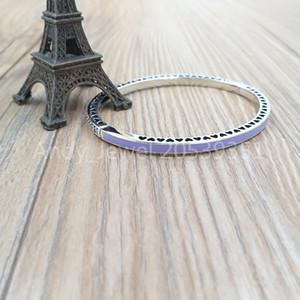 Auténticos 925 Sterling Silver Purple radiantes corazones de Pandona brazalete encantos de los ajustes de joyas de estilo europeo PANDONA Cuentas 590537EN66
