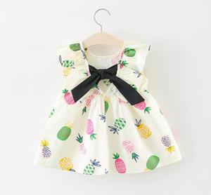 Çocuklar kızlar elbise elbise Yeni bebek kız Ruffles kolsuz elbise v-geri yay ile 100% pamuk bebek kız elbise