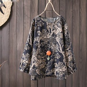 Womens Tunic Tops Vintage Print Blouse 2020 Spring Female Long Sleeve Shirts Elegant Casual Work Plus Size Tops