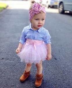 Newborn Baby Kids Girls Clothes 2Pcs Sets Outfits Tutu Girl Dress Striped Long Sleeve Shirt + Pink Mesh Skirt