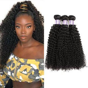 8-28inch floja profunda onda del cuerpo del cabello humano Paquetes 3/4 / 5pcs peruana Yaki Extensiones de cabello humano de la Virgen rizada agua armadura del pelo de lotes