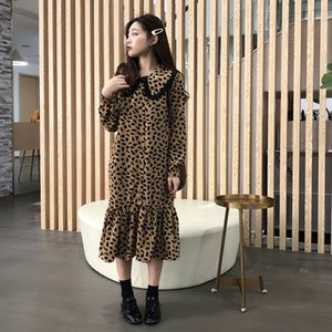 YICIYA tallas grandes vestido de leopardo grande trompeta sirena volantes túnica vestidos de manga larga 2019 primavera caqui más blanca midi ropa