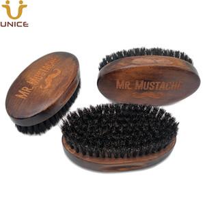 موك 100pcs التي LOGO OEM مخصص الرجعية اللحية فرشاة خشبية بريميوم فرشاة مع شعر الخنزير الشعر الأمازون العرض