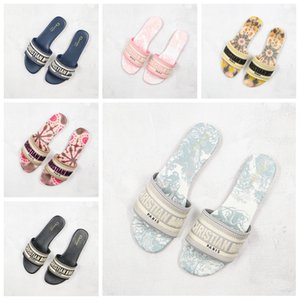 B23 d'or Dway MULE Toile de Jouy Sandálias bordados listras flores piscina slide chinelos sapatos Womens Slippers Mulheres Scuffs Slides