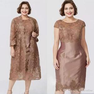 Chic Brown manches courtes gaine Mère de robes avec veste en dentelle pleine élégante thé longueur mère de la robe de mariée Custom Made BC0279