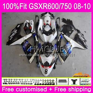 Inyección para SUZUKI GSXR 600 750 08 GSXR-750 GSXR600 08 09 10 7HM.21 GSXR-600 K8 GSX R750 R600 GSXR750 2008 2009 2010 Blanco Negro Carenado