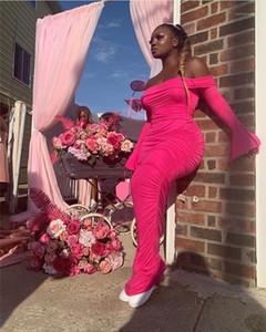 Slim Solid Color Backless Flare Longeved Maxi Dresses Fashion Womens Party Dresses Slash Neck Women Promises Sexy
