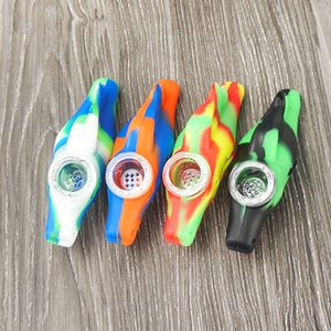 Silicone Tobacco Pipe Smoking Pipe Water Smoking Pipes Wild Horse Pattern Camouflage Color with Glass Bowl