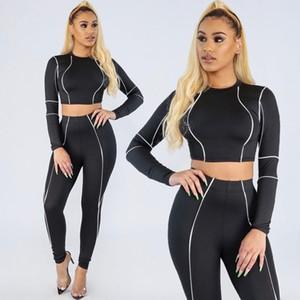 Listrado preto manga comprida conjunto Yoga de fotos reais New Mulheres Gym Treino malha ver através Atacado Suit Casual