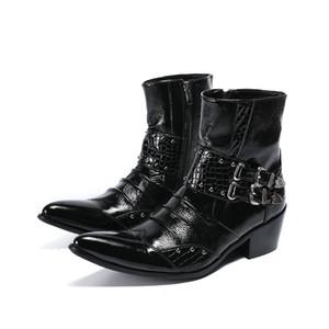 패션 높이 증가 남성 부츠 펑크 리벳 정품 가죽 발목 남성 paty prom shoes Pointed Toe Men 오토바이 부츠