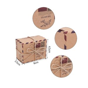 10 20 30pcs Air Mail Airplane Travel Theme Candy Box Vintage Kraft Paper Suitcase Candy Box With Rope For Wedding Birthday Decor