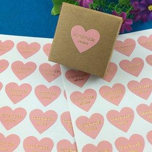 """Color rosado Diseño de impresión en oro """"Hecho a mano con amor"""" con forma de corazón Pegatinas Texto dorado Etiquetas adhesivas Suministros para fiestas"""