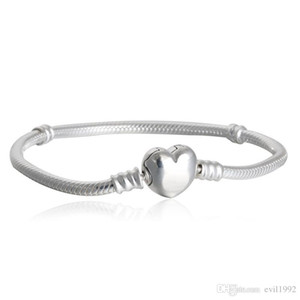 1pcs Drop Shipping Factory Silver Plated Heart Bracelets Snake Chain Fit for pandora Bangle Bracelet Women Children Gift B002