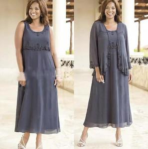 Plus Size Mutter der Braut Kleider grau Chiffon Spitze Applique Tee Länge A Line Mutter Kleider mit Jacke